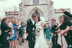 Confetti photo taken outside church in Poole Dorset