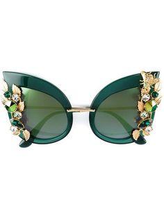 6ff259bca37 Dolce   Gabbana Eyewear Green Embellished Sunglasses - Farfetch