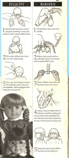"Hair styling ""tips"" for Addy, Sam, Felicity & Molly/Kirsten, apparently scanned from AG pamphlets!"
