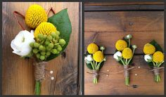 "Yellow ""billy ball"" boutonnieres"
