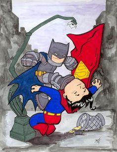 This is one of my alltime favorite scenes in comics and possible my favoritest Chibi ever. The scene in the Dark Knight Returns where Batman kicks Super. Dark Knight Returns, Best Villains, Black Bat, Dc Comics Art, Batman Vs Superman, Dc Characters, Bat Family, Comic Character, Comic Art
