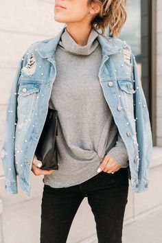Oversized, distressed denim jacket with pearl detailing