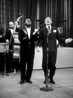 """U.S.O. Tour"" Louis Armstrong and Danny Kaye, October 1958. Photo by Gerald Smith MPTV"