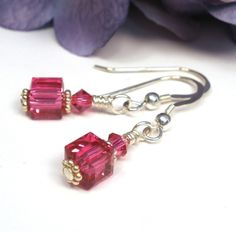 Fuchsia Pink Crystal Cube Sterling Silver Earrings