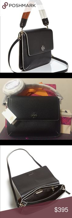 """TORY BURCH BERKELY MESSENGER Brand new with tag. Come with TB dust bag and gift box. Made of soft pebbled leather, with a color-blocked, detachable handle woven by hand. Remove it to carry the bag as a clutch, or attach the cross-body strap for versatility, great year-round style.Holds a 7"""" tablet, a continental wallet, an iPhone 6 Plus and a lip color Flap with magnetic snap closure Handwoven leather removable handle with 2.79"""" (7 cm) drop Tory Burch Bags Crossbody Bags"""