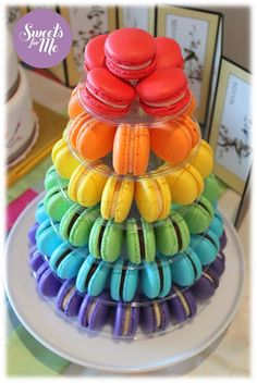 6 Tier Macaron Tower with 70 macarons by SweetsforMe on Etsy, $160.00