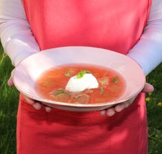 Cold RHUBARB SOUP with Vanilla Icecream & Mint leaves my recipehttp://foodlovestories.com/