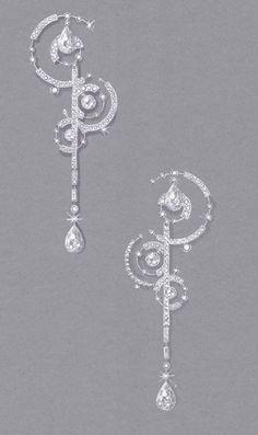 Gouache sur papier mi teinte Boucle d'oreille collection SUMMER RAIN par Ylana AZOULAY