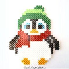 Charismatic Christmas penguin with Hama beads #beads #christmas #penguin