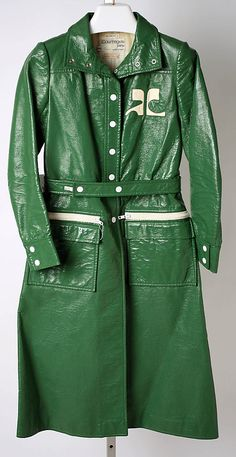 "Green pleather coat by André Courrèges, French, 1963-69. Label: ""MADE IN FRANCE/EXCLUSIVELY FOR/BONWIT TELLER."""