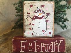 Primitive Country Snowman with Hearts February  Shelf Sitter Wood Block Set #CountryPrimitive #DoughandSplinters