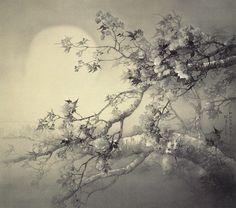 松林桂月 Matsubayashi Keigetsu『春宵花影図』
