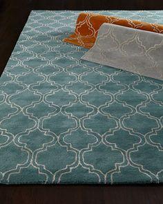 "Orange/Ochre/White Arabesque Trellis Rug, 3\'6"" x 5\'6"" by Jaipur Rugs Inc at Horchow."