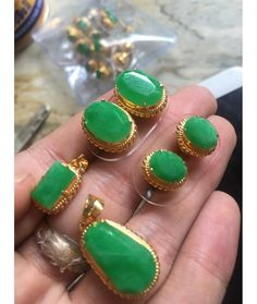 This authentic Myanmar Triplet Jade Earrings, Pendant and Ring is originally and professionally handmade. It is a unique piece of Myanmar imperial Jade; the first grade material (A type Jadeite). It is 100% Myanmar natural jade.