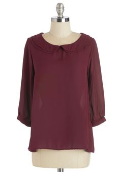 Who You Gonna Collar? Top. When youre in need of a posh ensemble this merlot-red, ModCloth-exclusive top is there to lend a stylish hand! #red #modcloth