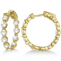 Fancy vivid yellow gold diamond hoop earrings come with shiny white round cut diamond in a prong setting placed in a unique inside outside pattern. Shop for sparkly gold diamond earrings. Gold Diamond Earrings, Diamond Jewelry, Diamond Stone, Round Cut Diamond, Round Diamond Engagement Rings, White Gold Diamonds, Fine Jewelry, Natural Earth, Stone Weight