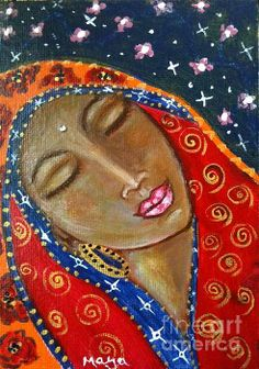 Our Lady Of The Red Thread Painting by Maya Telford - Our Lady Of The Red Thread Fine Art Prints and Posters for Sale Great Paintings, Beautiful Paintings, Madonna, Goddess Art, Thread Painting, Canadian Artists, Sacred Art, Portrait Art, Portraits