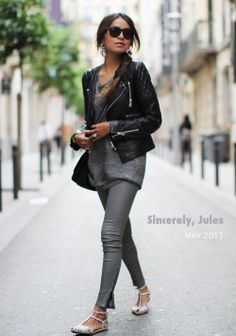 Quilted black leather moto jacket, grey slouch sweater and ankle-zip skinnies, Zara silver glitter flats | Sincerely, Jules | SincerelyJules.com