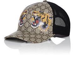 GUCCI Roaring Tigers   Logo-Print Trucker Hat.  gucci  hat 74d8dc3df0af