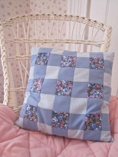 """Blue Gingham"" Handmade toss cushion made from recycled clothing and bed linens. Even the stuffing is made from strips of recycled clothing. Blues 13 1/2"" x 13 1/2"""