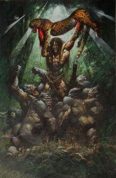 "Simon Bisley - ""Tarzan: The Big Kill"" Painting Original Art Simon Bisley, Comic Book Artists, Comic Book Characters, Comic Books Art, Comic Art, Character Art, Character Design, Tarzan Of The Apes, Lilo Et Stitch"