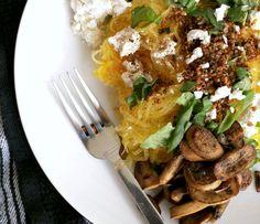spaghetti squash with creamy goat cheese, garlic, green onions and fresh basil