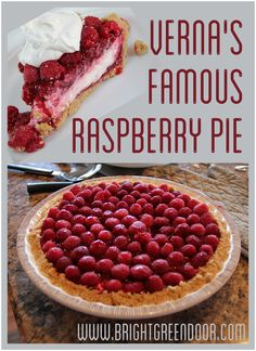 Verna's Famous Raspberry Pie- Graham Cracker Crust with a Whipped Layer and a Raspberry Layer, topped with fresh raspberries! Make with crushed almond crust to be GF Raspberry Cream Pies, Raspberry Desserts, Köstliche Desserts, Delicious Desserts, Raspberry Pie Recipes, Desserts With Raspberries, Rasberry Pie, Yummy Food, Plated Desserts