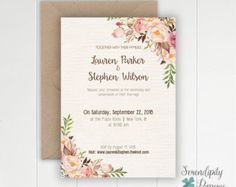 Rustic Floral Wedding Invitation Printable por SerendipityPaperieCo