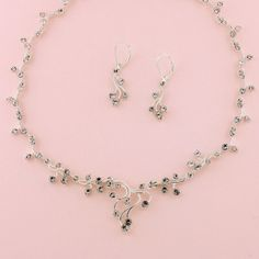 "15-1/2"" - 17-1/2"" Silver Necklace & 1-1/2"" Earring"