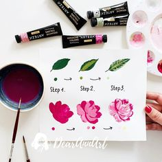Learn How to Create Delicate Flowers - Create your own beautiful blooms with this step-by-step flower painting tutorial using Arteza Paint. Art by: - Gouche Painting, Gouache Color, Gouache Tutorial, Posca Art, Poster Design, Guache, Alcohol Ink Painting, Painting & Drawing, Learn Painting