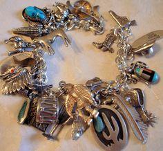 Charm bracelet, Turquoise, Native American, Southwestern jewelry.