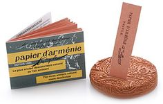 The ancient room deodorizer, Papier d'Armenie (Paper of Armenia), naturally purify the air with a warm, familiar ambiance. fold a single paper accordion-style, light an end and quickly blow it out allowing it to burn slowly. $7.00