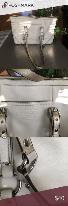 COACH BAG/ SATCHEL/ SHOULDER BAG GUC/ this Coach has some rubs, wear and stray marks but still has a future / white with gold accents/ silvertone hardware/ price reflective  of condition please note pics!!! Coach Bags Satchels