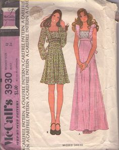 McCall's 3930 Vintage 70's Sewing Pattern SWEET Square Neck Pinafore Style Empire Waist, Tie Back Day Dress, Boho Maxi Gown #MOMSPatterns