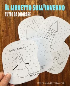 """Cade la neve"": il libretto sull'inverno tutto da colorare First Day First Grade, Art For Kids, Homeschool, Education, Crafts, Mondrian, Snow, Winter Time, Cousins"