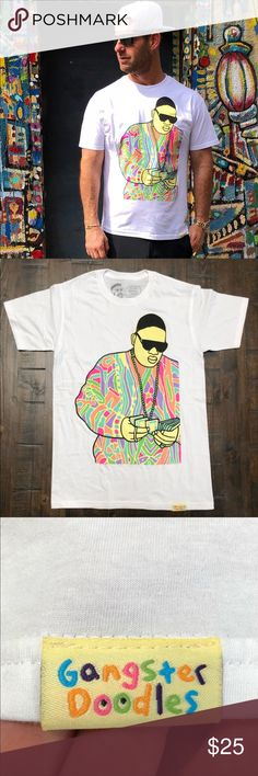 NEW 💖 BIGGIE • GANGSTER DOODLES TEE BRAND NEW, NEVER WORN! 🎨 NOTORIOUS BIG GANGSTER DOODLES TEE!   SIZE SMALL, MEDIUM, LARGE & XL MENS. 100% cotton tee. Regular men's fit. True to size.   Ships same or next day from my smoke free home. Priced firm. Bundle to save. 🎨 Zumiez Shirts Tees - Short Sleeve