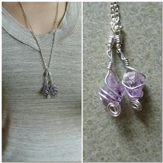 Double Amethyst Pendant Necklace by MyLittleEarthlings on Etsy