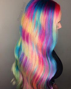 Rainbow hair, neon hair, pulp riot, mermaid hair, unicorn hair, colorful hair