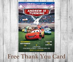 Artículos similares a Print Your Own - Disney Cars Invitation en Etsy Cars Invitation, Invitations, Birthday Door, Free Thank You Cards, Lightning Mcqueen, Disney Cars, Youre Invited, Little Ones, First Birthdays
