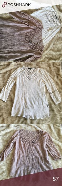 2 quarter sleeve tops 2 tops with crochet detail around the neck and on the arms Love Stitch Tops
