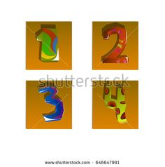 A set of four numbers depicted on square objects.