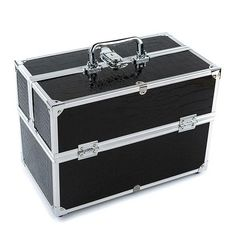 Black Lockable Cosmetic Organizer Box Professional Makeup Case for Make Up Tools Containing Storage Box Larger Capacity