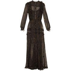 Zimmermann Mischief Lurex Stripe Silk Chiffon Dress ($597) ❤ liked on Polyvore featuring dresses, zimmermann dress, zimmermann, silk chiffon dress, striped dress and stripe dresses