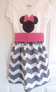 Minnie Mouse Disney Dress - Gray Chevron - CUSTOM - Sizes 12 Months to 6 Years on Etsy, $36.50