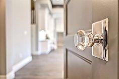 Emtek door knobs - Clark and Co. Homes Details Custom Home Builders, Custom Homes, Crystal Door Knobs, Glass Knobs, Sliding Closet Doors, Hallway Closet, Knobs And Knockers, Home Hardware, Kitchen Hardware
