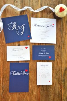 Red Heart Monogram (navy) invites