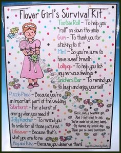 Flower Girl's Survival Kit. Such a cute idea!