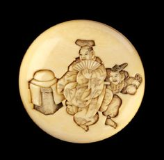 Manjū netsuke depicting manzai dancers at New Yearfront.   manzai  Manzai dancing originated in China and has been performed in Japan since the eighth century. Traditional manzai had two representatives from a shrine or temple. One of them played the 'wit' and the other the 'straight man'. Date c. 1800 - 1872 / Artist/maker: Hōjitsu Meikeisai (c. 1800 - 1872)