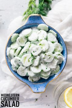 Midwestern Creamy Cucumber and Vinegar Salad made with fresh cucumbers, sour cream, vinegar, and fresh herbs, a summer stable for every picnic and cookout! #summersalad #cucumbersalad #picnicfood #blessthismessplease