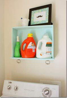 Old Drawer to Cute Laundry Shelf! Such a great way to use discarded drawers.